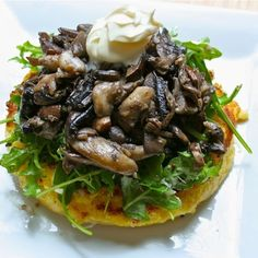 We love mushrooms, and we love polenta. We wanted to make a simple recipe that let the mushrooms shine. The polenta gives a nice crispy and satisfying base, the arugula salad adds brightness, and the earth mushrooms are the star of the dish. Crispy Polenta, Polenta Recipes, Veg Recipes, Vegetarian Recipes, Cooking Recipes, Healthy Recipes, Healthy Meals, Mushroom Salad, Recipes