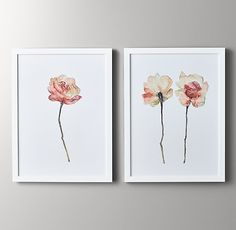 I must have these for my office!! Restoration Hardware-Watercolor Flower Art - Pink