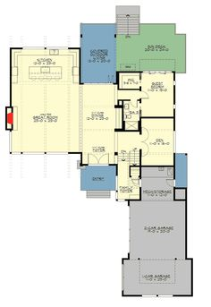 4 Bed Modern House Plan with Dramatic Vaulted Interior Spaces - 23673JD floor plan - Main Level
