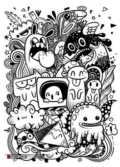 Abstract grunge urban pattern with monster character, Super drawing in graffiti style,background. Vector illustration