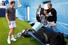 David Beckham & his son Romeo with Andy Murray