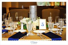Navy and gold reception decor at Colleen and Marshall's wedding at Shaker Heights Country Club