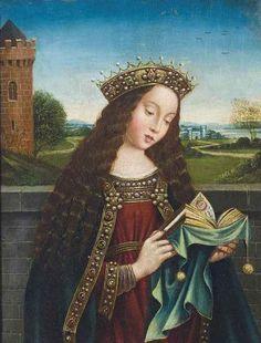 After Hubert van Eyck and Jan van Eyck , Saint Barbara reading Medieval Costume, Medieval Art, Renaissance Art, Jan Van Eyck Paintings, Ghent Altarpiece, Saint Barbara, Medieval Paintings, Christian Artwork, Music Artwork
