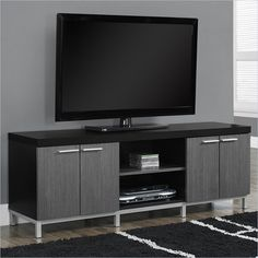 """Lowest price online on all Monarch 60"""" TV Console in Black and Gray with 2 Storage Cabinets - I 2590"""