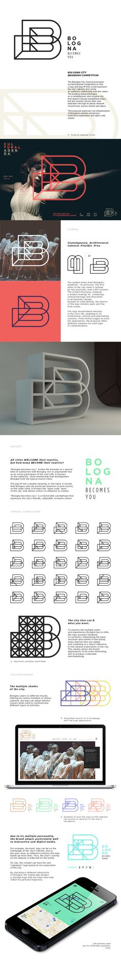Bologna City Branding . inspiration . logo . outline. geometrical . grid . flexible  . adaptable . nice presentation