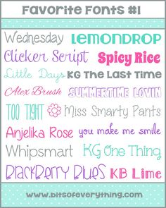 Cute Font Collection #fonts bitsofeverything.com