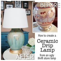 Transform an ugly lamp into a beautiful drip pottery lamp. Easy how to and step by step direcitons. Funny story too! Transform an ugly lamp into a beautiful drip pottery lamp. Easy how to and step by step direcitons. Funny story too! Lamp Redo, Lamp Makeover, Painting Lamps, Ceramic Painting, Spray Painting, Painted Furniture, Diy Furniture, Furniture Makeover, Painted Lamp