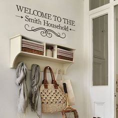 'welcome' vinyl wall sticker by oakdene designs | notonthehighstreet.com