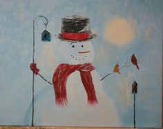 "Decembers (2014) Canvas - Vino painting ""Winter Bird Lover"""
