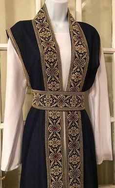 Long Navy Blue Sleeveless Kimono / Vest / Jaket with Gold