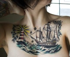 Boat chest Tattoo - 100 Boat Tattoo Designs <3 <3