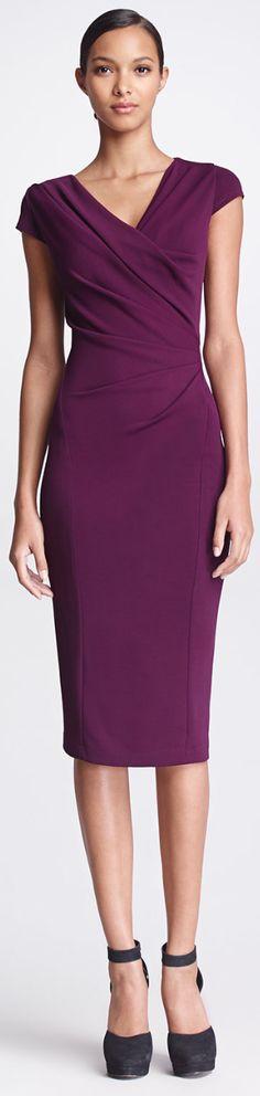 Donna Karan Gathered Cap-Sleeve Dress, Amethyst