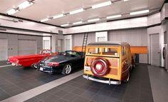 90 Garage Flooring Ideas For Men - Paint, Tiles And Epoxy Coatings Classic Tile Garage Bodenbeläge Man Cave Garage, Garage House, Car Garage, Garage Doors, Garage Cabinets, Garage Floor Tiles, Tile Floor, Garage Flooring, Epoxy Floor