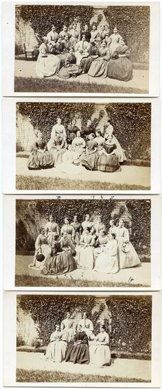 Pretty Girls Group ID'D Hoop Skirts Civil War Era Outdoor 1860s CDV Photos | eBay