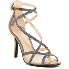 Pelle Moda Everly Metallic Sandal ($80) ❤ liked on Polyvore featuring shoes, sandals, pewter, pewter sandals, caged sandals, ankle strap shoes, caged shoes and ankle tie shoes