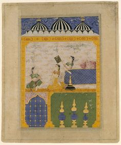 Romance of Laurak and Chanda. 3 Ladies in a Palace Interior: Page from a Laur Chanda.  1520-30 N. India (Mandu?)