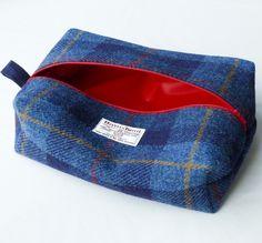 Harris tweed toiletry bag, washbag for men, navy tartan £32.00