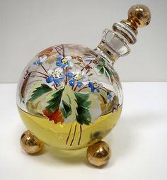 Antique Victorian Enameled Applied Art Glass Moser Perfume Bottle Ball Feet
