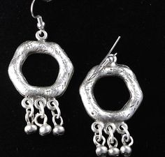 Old World Fashion Jewelry Ottoman Style Antiqued Silver Dangle Earrings