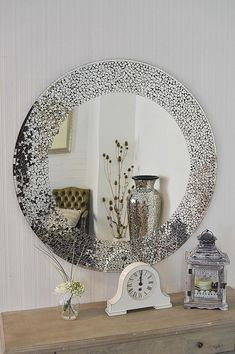 40 Cool Modern Decorative Mirrors - New Contemporary Design Large Round Mosaic Silver Wall - Mirrors And Marble, Silver Wall Mirror, Wall Mounted Mirror, Rope Mirror, Mosaic Tile Art, Mirror Mosaic, Mosaic Vase, Modern Mirror Design, Contemporary Design