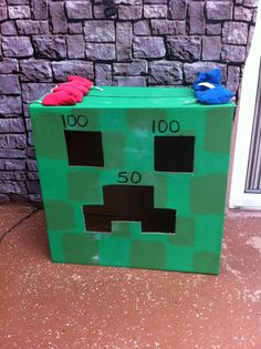Minecraft Creeper bean bag toss!!  The kids loved this!!!!