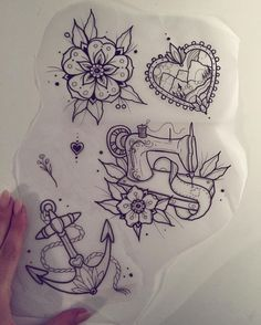 • tattoo • flower • English rose • anchor • sewing machine •