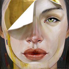 """Portrait 01"" by Erik Jones, female face mixed media #surreal painting, 2015. #noveltechnique erikjonesart.com"