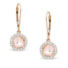 Sweet Morganite & Diamond Drop Earrings