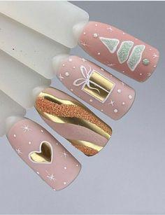 Cute Christmas Nails, Xmas Nails, Christmas Nail Designs, Holiday Nails, Diy Nails, Cute Nails, Pretty Nails, Gel Nail Art Designs, Nail Art Designs Videos