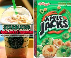 Starbucks Apple Jacks Frappuccino- There something about apples and cinnamon that goes together so beautifully! The sweetness of the apple and the slight spice of cinnamon make for a delicious pairing. Frappuccino Recipe, Starbucks Frappuccino, Starbucks Coffee, Iced Coffee, Coffee Shop, Starbucks Strawberry Acai Refresher, Starbucks Cookies, Cinnamon Dolce Syrup, Starbucks Secret Menu Drinks