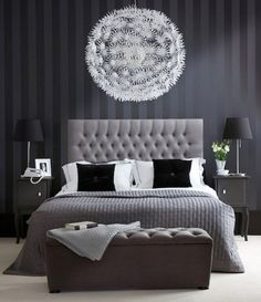 love the headboard & the way the light looks like a great big moon hanging over the bed