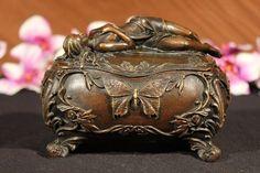 Gorgeous Bronze Casket Jewelry Box Metal Art Nouveau Vienna Sculpture Decor   JV