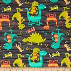 Michael Miller Retro Dino Dudes Grey from @fabricdotcom  Designed for Michael Miller Fabrics, this cotton print fabric is perfect for quilting, crafts, apparel and home décor accents. Colors include turquoise, orange, yellow, dark lime and melon on a grey background.