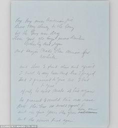 The original manuscript written by Don McLean for his iconic hit 'American Pie', which is set to go under the hammer at Christie's auction house in New York