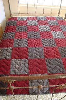 Great masculine quilt colors, pattern and quilting. Pattern on this site, too.