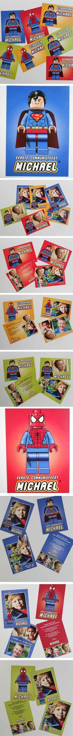 #Lego #communiekaarten #superman #spiderman. Bezorg foto's en tekst. Wij maken de #communiekaartjes. Proef via e-mail. Na goedkeuring leveren we drukwerk.  http://www.kaartencollectie.be/nl/communiekaart-lego-superhelden-1047.htm