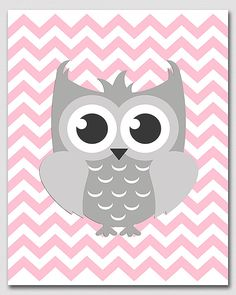 Pink and grey owl wall art nursery Art Print  8x10  by SednaPrints