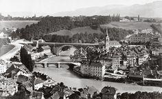 The Nydeck bridge over the river Aare in Bern Switzerland, 1860-1890