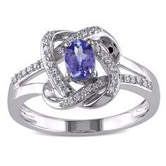 Miadora 10k White Gold Tanzanite and 1/6ct TDW Diamond Knot Ring (G-H, I1-I2) (Size 8.5), Women's, Blue