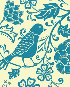 Bird And Flowers Art Print 8 X 10 by pictorialboom on Etsy, $15.00