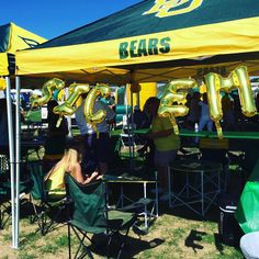 Large gold mylar balloons for a Baylor tailgate