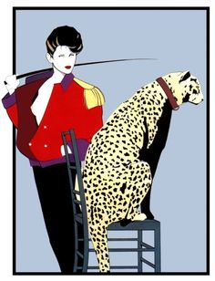 Original Patrick Nagel Print Woman with Jaguar Leopard Poster Art Deco Animal Litho 9 x Graphic Print Ready to Frame Gift Pinup Patrick Nagel, Character Illustration, Illustration Art, Pinup, Jaguar Leopard, Nagel Art, Playboy, Kunst Poster, Art Deco Posters