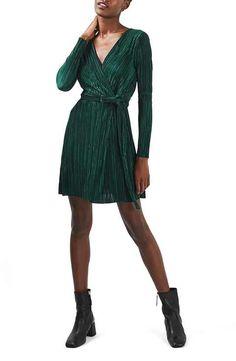 Topshop Long Sleeve Plissé Wrap Minidress