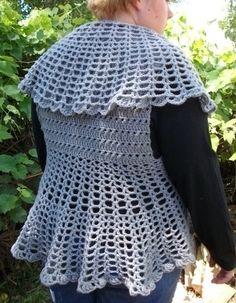 Plus Size Crochet Victorian Style Round Vest PDF Pattern 1210
