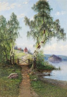 by Swedish landscape artist Johan Kindborg Beautiful Landscape Paintings, Scenery Paintings, Great Paintings, Nature Paintings, Art Pictures, Photos, Country Landscaping, Environmental Art, City Art