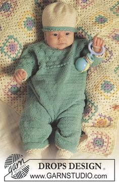 "DROPS jumpsuit or dress with lace pattern, hat and socks in ""Baby Merino"". ~ DROPS Design"