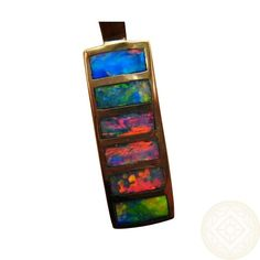 Unbelievably Bright and Colorful Opals in this 14k Gold Pendant. www.flashopal.com  #opal