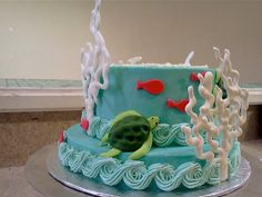 Ocean themed birthday cake with sea turtles and coral by sugar.glider, via Flickr