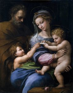 Raphael - The Holy Family with little Saint John, or The Virgin with a Rose (c. 1516), Oil on Canvas, Museo Nacional del Prado, Madrid