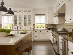 Antique-White-Kitchen-Cabinets-with-Dark-Island